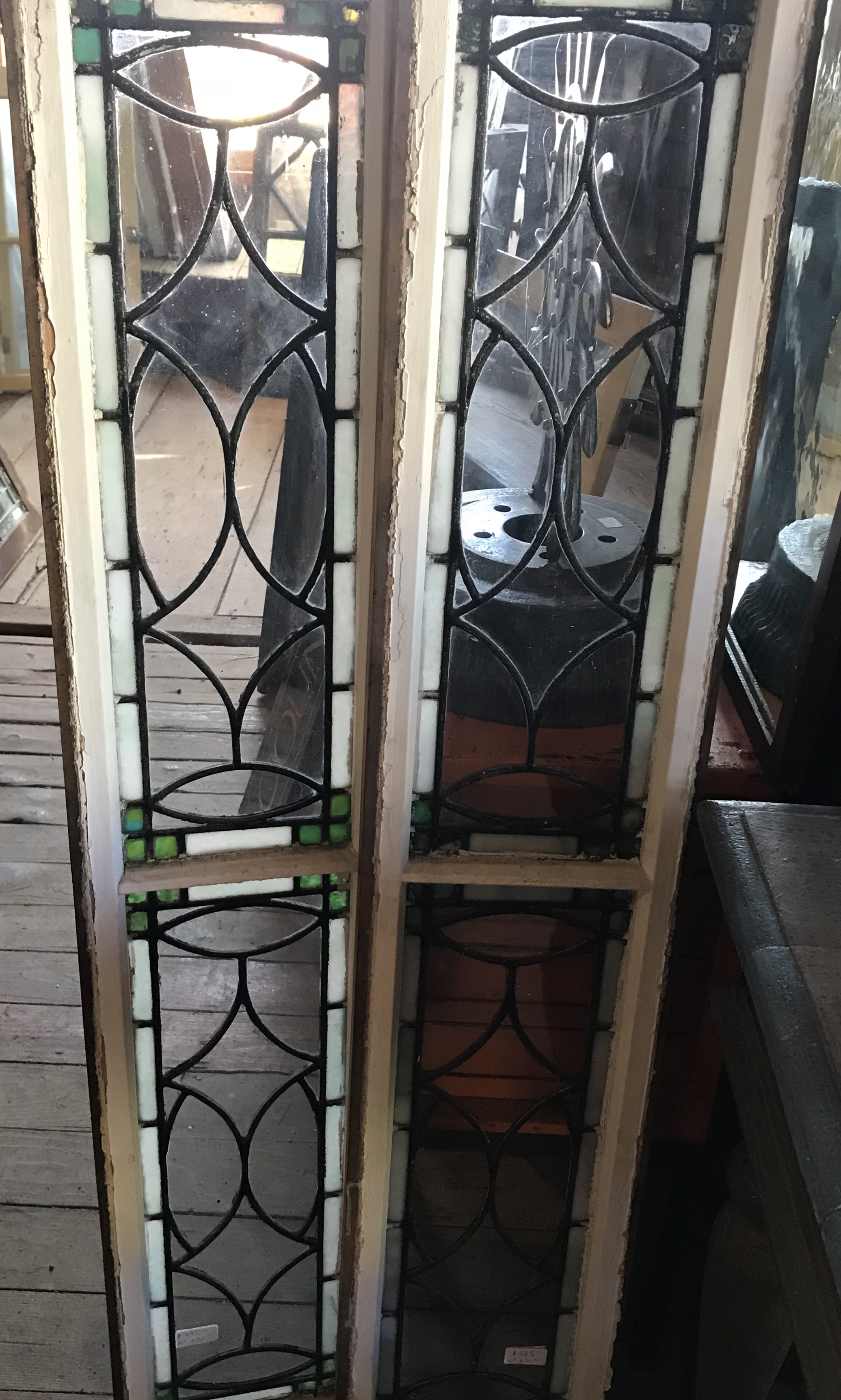 Pair of leaded and stained glass sidelights/transoms