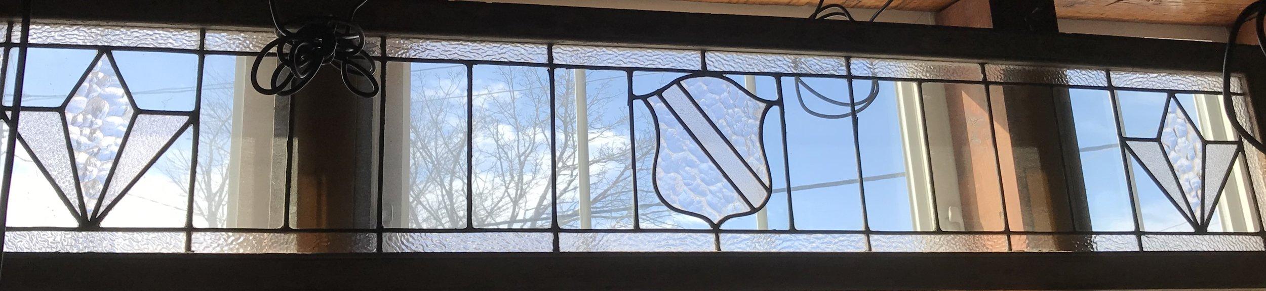 Long 1930's Leaded glass Transom