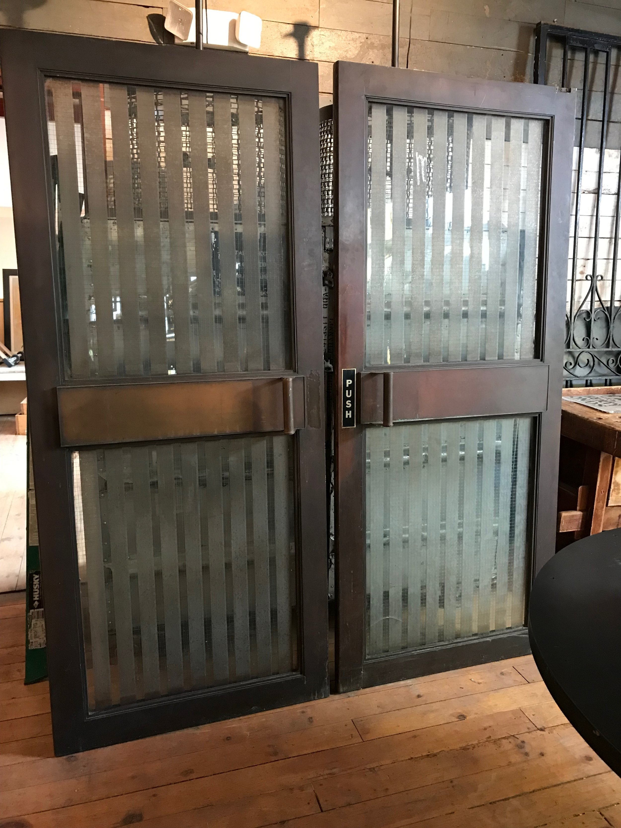 Pair Vintage Bronze Clad bank doors