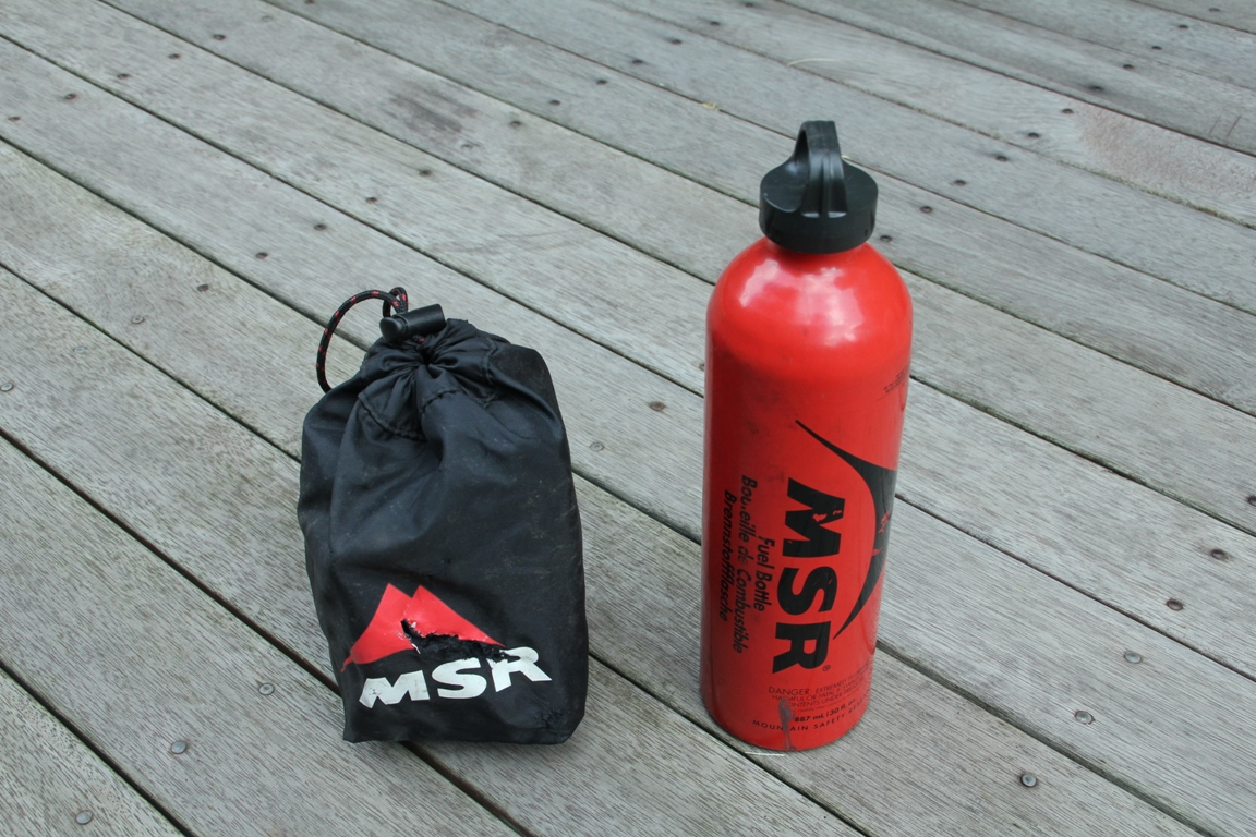 MSR whisperlite multi-fuel stove 900 bottle packed