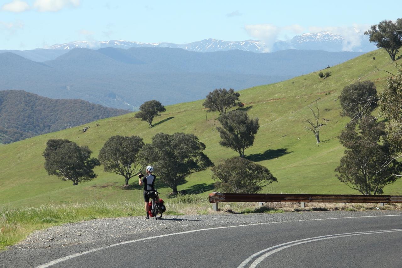 alpine way snowy mountains cycling