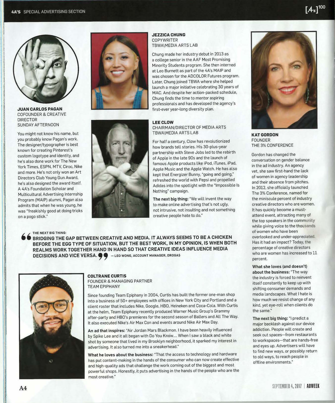 """Jezz was honored by the 4A's as """"100 People Who Make Advertising Great"""""""
