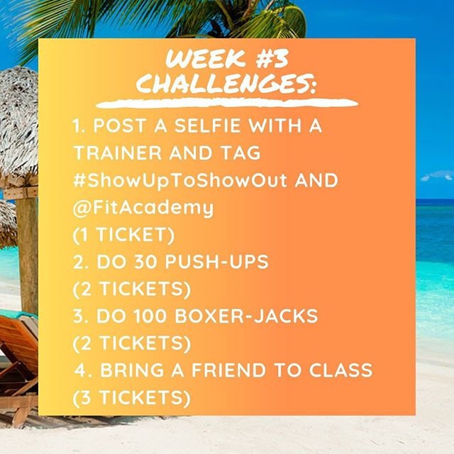 WEEK 3 of the🔥Show Up to Show Out🔥 4-Week attendance challenge has begun! 🏖Beach season is coming! This challenge is our way to help you get right and tight for this warm weather 😎, have fun, and win a prize!  By showing up to class and doing your best everyday, you will earn raffle tickets to put into our challenge jar. Each studio will have its own jar. At the end of the 4 weeks, we will draw a name from each jar to determine the grand prize winner! That means the more classes you attend, the higher your chances of winning the grand prize! Prizes will be announced shortly.  Here's everything you need to know: * 🗓Duration: April 15th - May 11. * Opportunities to win tickets everyday! Completing WEEKLY CHALLENGES, attending MORNING classes, and BRINGING FRIENDS 👫 to class will earn you even more tickets! * Win-Win: the more you come, the better results you get AND the better chances you have to win. See you in the studio! . . . #FitAcademy #FITPHL #thinkfitlivefit #3xbestofphillytrainer  #allin #philly #philadelphia #fitnessismylife #motivation #positivity #loseweight #hiit #getfit #FitFam #phillytrainer #groupfitness #cardio #training #bootcamp #personaltrainer  #exercise