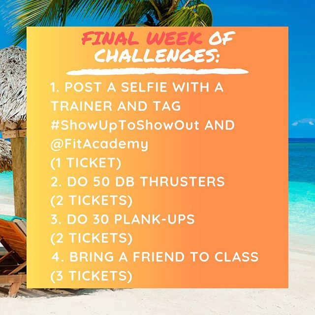 The FINAL WEEK of the🔥Show Up to Show Out🔥 4-Week attendance challenge has begun! 🏖Beach season is coming! This challenge is our way to help you get right and tight for this warm weather 😎, have fun, and win a prize!  By showing up to class and doing your best everyday, you will earn raffle tickets to put into our challenge jar. Each studio will have its own jar. At the end of the 4 weeks, we will draw a name from each jar to determine the grand prize winner! That means the more classes you attend, the higher your chances of winning the grand prize! Prizes will be announced shortly.  Here's everything you need to know: * 🗓Duration: April 15th - May 11. * Opportunities to win tickets everyday! Completing WEEKLY CHALLENGES, attending MORNING classes, and BRINGING FRIENDS 👫 to class will earn you even more tickets! * Win-Win: the more you come, the better results you get AND the better chances you have to win. See you in the studio! . . . #FitAcademy #FITPHL #thinkfitlivefit #3xbestofphillytrainer  #allin #philly #philadelphia #fitnessismylife #motivation #positivity #loseweight #hiit #getfit #FitFam #phillytrainer #groupfitness #cardio #training #bootcamp #personaltrainer  #exercise