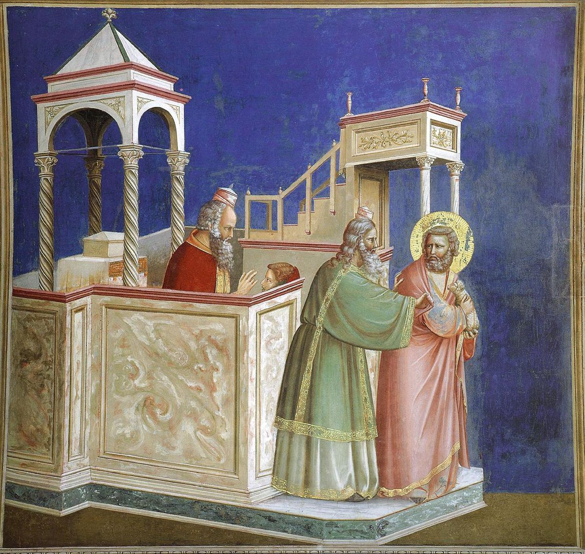 """The Expulsion of Joachim from the Temple"" by Giotto di Bondone   Arena (Scrovegni) Chapel, Padua, Italy, c. 1305, Fresco, (approx. 4x5ft) by Giotto (Giotto di Bondone . 1267 – January 8, 1337) The Italian painter and architect from Florence painted the interior of the chapel with a cycle of 37 images of which this is one. This is his most influential work and considered to be an important masterpiece of Western Art. Giotto was ""the most sovereign master of painting in his time, who drew all his figures and their postures according to nature"", to quote a famous chronicler of that period.  This is still considered the Gothic period yet notice how well shaded and solid the figures look, moving away from Medieval flatness. Giotto was a pioneer in observing the human figure from life and depicting it with solid volume as if there is a real body underneath the clothing. Take note of the attempt at perspective in the architecture. The system of linear perspective had not been developed and Giotto is on his own as far as how to show architecture and delineate realistic space for his figures."