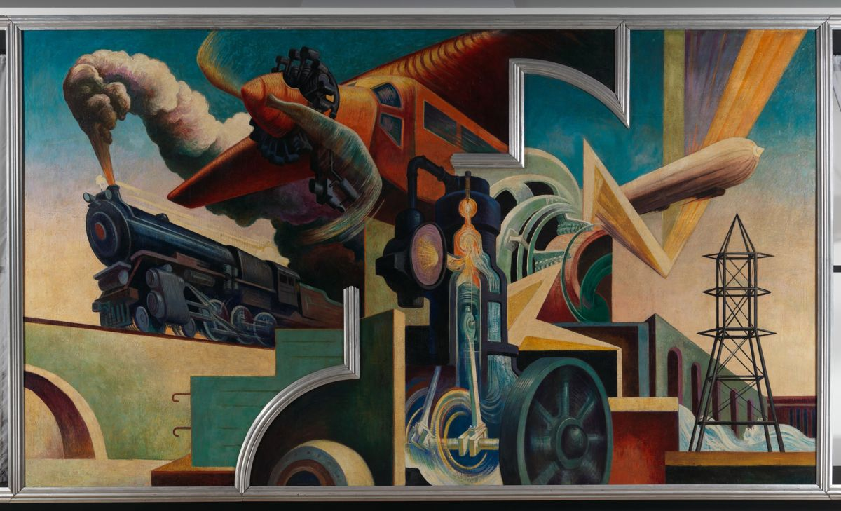 """Instrument of Power"" by Thomas Hart Benton  A 10 panel, room-sized mural call ""America Today"", 1931, egg tempera with oil glazing over Permalba on a gesso ground on linen mounted to wood panels. This was originally created for the boardroom of the New School for Social Research, a center of progressive thought and education in Greenwich Village. This is the largest panel is filled with enormous machines that embody modern industrial might. Eight of the panels depict life in different regions of the United States: the South, the Midwest, the West, and New York. Benton created ""America Today"" in a dynamic, restlessly figurative style that reflects his study of sixteenth-century European painting, especially the style known as Mannerism. But the exaggerated, pantomimed gestures and expressions of the figures he painted also recall early twentieth-century film, among other popular sources. Also stagelike in character is Benton's depiction of architecture, particularly the dam in ""Instruments of Power"", a facade that suggests his response to Italian painter Giorgio de Chirico. Among the mural's most distinctive features are the aluminum-leaf wood moldings, which not only frame the entire work but also create inventive spatial breaks within each large composition. The famous Abstract Expressionist artist, Jackson Pollock, was a student of Benton's."