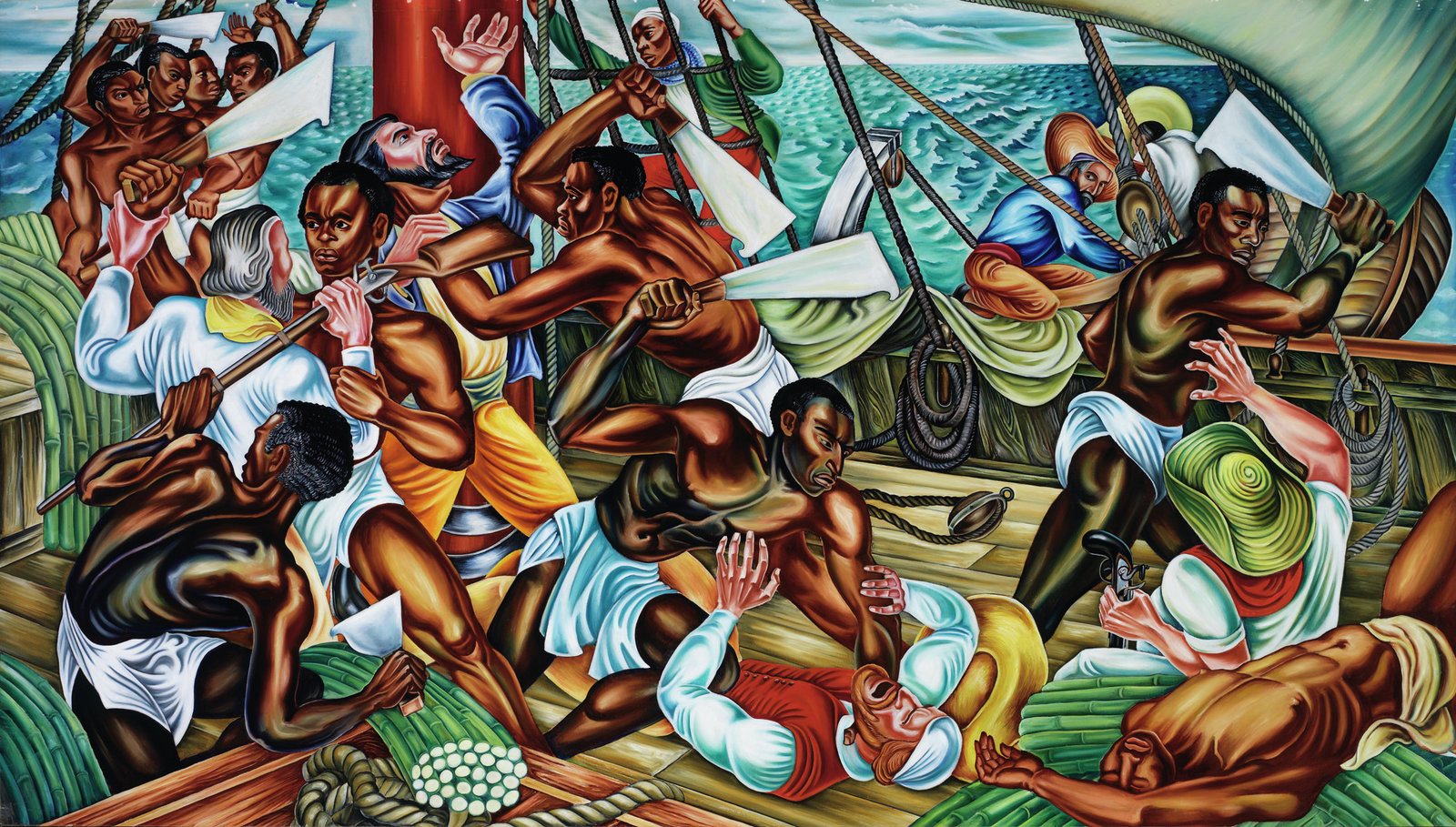 'The Mutiny on the Amistad' by Hale Woodruff  Oil on canvas, approx 6x10 feet, 1939, originally installed in library, Talladega College, Alabama. One of six monumental canvases created for the new library at Talladega College. The first three paintings, completed in 1939, deal with the Amistad mutiny and its aftermath as emblems of heroic African protest against slavery and New Englanders' support of the rebellious slaves' cause; the second trio, completed in 1942, celebrates the opening of Talladega College and the construction of the library itself as paradigms of black Americans' progress since the Civil War. Woodruff studied at prestigious art institutes in the US. He spent time in Paris and he went to Mexico to study with Diego Rivera. The masterful, complex composition is full of movement, color and glistening bodies. He made it clear in the portraiture that these are distinct individuals. Woodruff has a rightful place among America's pre-eminent social realists of the 1930s and early 1940s.   Photo credit: Peter Harholdt/Copyright Talladega College