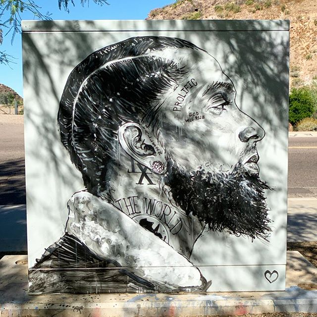 This tribute to @nipseyhussle was created by @realsourface in Tempe near Broadway and 55th St. . #realsourface #nipseyhussle #nipsey #rip #muralsofphoenix #phoenixmurals #phxmurals #azmurals #mural #murals #phoenix #phx #dtphx #az #arizona #art #arte #urbanart #publicart #streetart #phxart #phoenixart #artist #wallart #azculture #culture #graff #graffiti #prolific #godwillrise