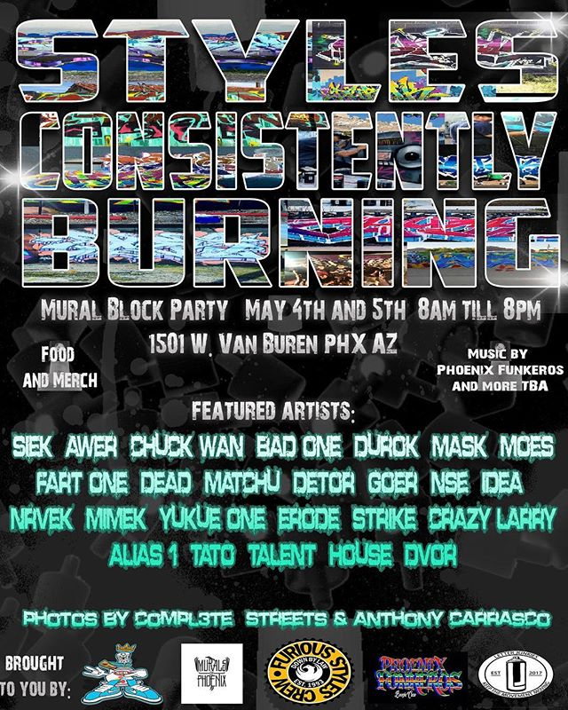 Only 1 week away! Styles Consistently Burning will bring together writers and artist from all over the city for 2 days of art, music, food and fun for the whole family. See link in bio for more info. See you there! . #muralsofphoenix #phoenixmurals #phxmurals #azmurals #mural #murals #phoenix #phx #dtphx #az #arizona #art #arte #urbanart #publicart #streetart #phxart #phoenixart #artist #wallart #azculture #culture #graff #graffiti