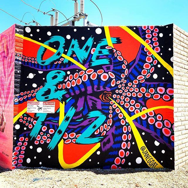 Check out this colorful mural by @janegoat that welcomes you to 1 1/2 street! Located behind the @thechurchillphx . #janegoat #muralsofphoenix #phoenixmurals #phxmurals #azmurals #mural #murals #phoenix #phx #dtphx #az #arizona #art #arte #urbanart #publicart #streetart #phxart #phoenixart #artist #wallart #azculture #culture #graff #graffiti #octopus #tentacles
