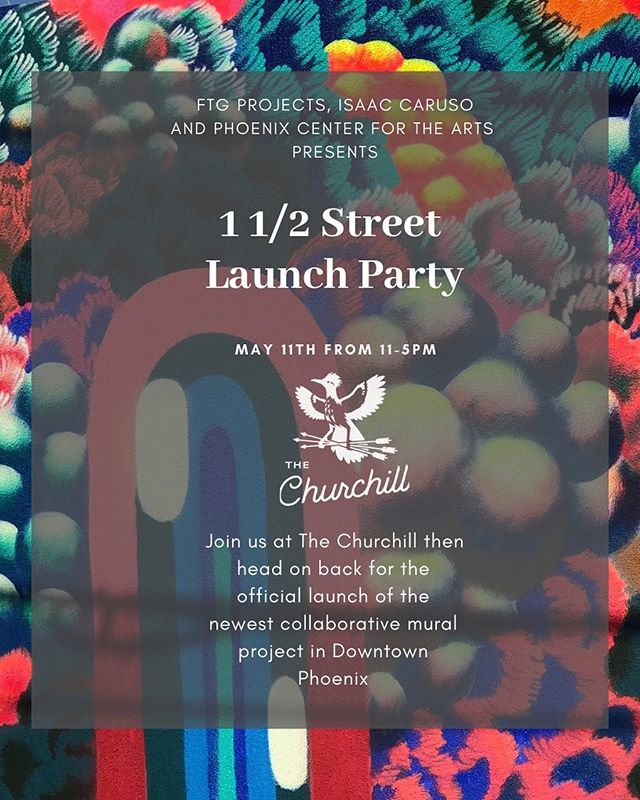Stop by the @thechurchillphx this Saturday from 11am-5pm and check out all the new murals throughout 1 1/2 street!!! Amazing work by @thescarce_org @isaac.caruso @nyla.lee @tatocaraveo @lamorena_art @josh.bask @breeze1phx @lalocota @highlikevolar @janegoat @jojamhorner @mrdowntownphx . #muralsofphoenix #phoenixmurals #phxmurals #azmurals #mural #murals #phoenix #phx #dtphx #az #arizona #art #arte #urbanart #publicart #streetart #phxart #phoenixart #artist #wallart #azculture #culture #graff #graffiti