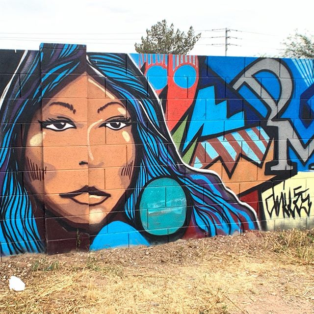 These pieces were created by @dmiles1_apache during the 2019 Oak Street Alley Mural Festival. Located near 15th Street and Oak. Stop by and check them out! . #douglasmiles #oakstreetalley #muralsofphoenix #phoenixmurals #phxmurals #azmurals #mural #murals #phoenix #phx #dtphx #az #arizona #art #urbanart #publicart #streetart #phxart #phoenixart #artist #wallart #azculture #culture #graff #graffiti #apache #nativeamericanart