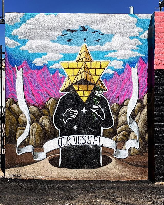 """Our Vessel"" was created by @jojamhorner for the 1 1/2 Street Project behind @thechurchillphx Stop by and check out all the new murals! . #vessel #muralsofphoenix #phoenixmurals #phxmurals #azmurals #mural #murals #phoenix #phx #dtphx #az #arizona #art #arte #urbanart #publicart #streetart #phxart #phoenixart #artist #wallart #azculture #culture #graff #graffiti #mountains"