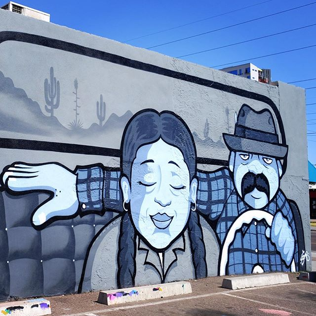 "Stop by @abombtheartist solo show ""Lovers Lane"" tonight at @movida602 from 7-10pm. Check out his new mural just outside the gallery. See you there! . #abombtheartist #chicano #chicanoart #muralsofphoenix #phoenixmurals #phxmurals #azmurals #mural #murals #phoenix #phx #dtphx #az #arizona #art #arte #urbanart #publicart #streetart #phxart #phoenixart #artist #wallart #azculture #culture #graff #graffiti #lowrider"