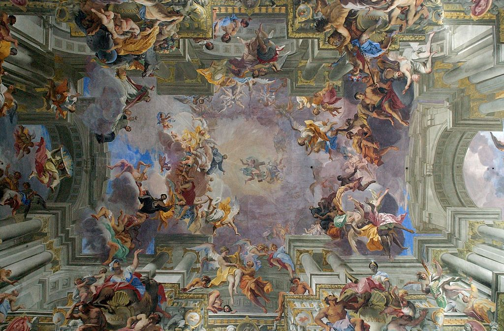 Andrea Pozzo,Triumph of Sant' Ignazio of Loyola, 1691-94 (Allegory of the Missionary Work of the Jesuits) Ceiling fresco, Approx 80x300 feet, Chiesa di Sant' Ignazio, Rome.  Pozzo (1642-1709) was an Italian Baroque painter and architect as well as a lay brother in the Jesuit order. Due to this he was commission to create art for several Jesuit churches, both in Italy and in Vienna. This is an enormous fresco, covering the ceiling of the entire nave and perhaps the best known example of quadrature. Quadratura is a specific style of  trompe-l'oeil  painting which incorporates architectural elements into the work to create a convincing illusion of the expansion of the actual space into an imagined space, making the painting look like an extension of the real space. The ceiling is completely flat, but Pozzo does a very good job of creating the illusion of great depth. Quadratura was the perfect style of painting to tie in with the qualities in art that are associated with the Baroque: drama, theatricality, dynamic, full of excess and grandeur.