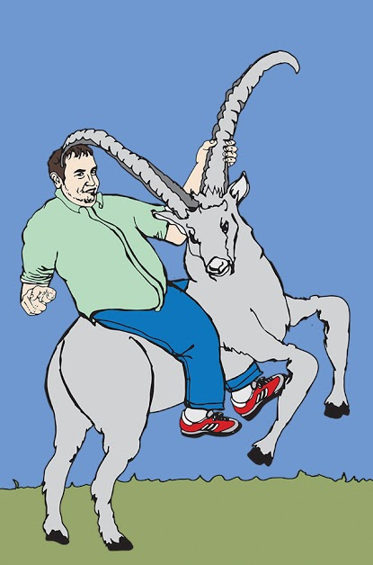 Eitan Rides a Mammal with Large Horns Also Known as a Goat