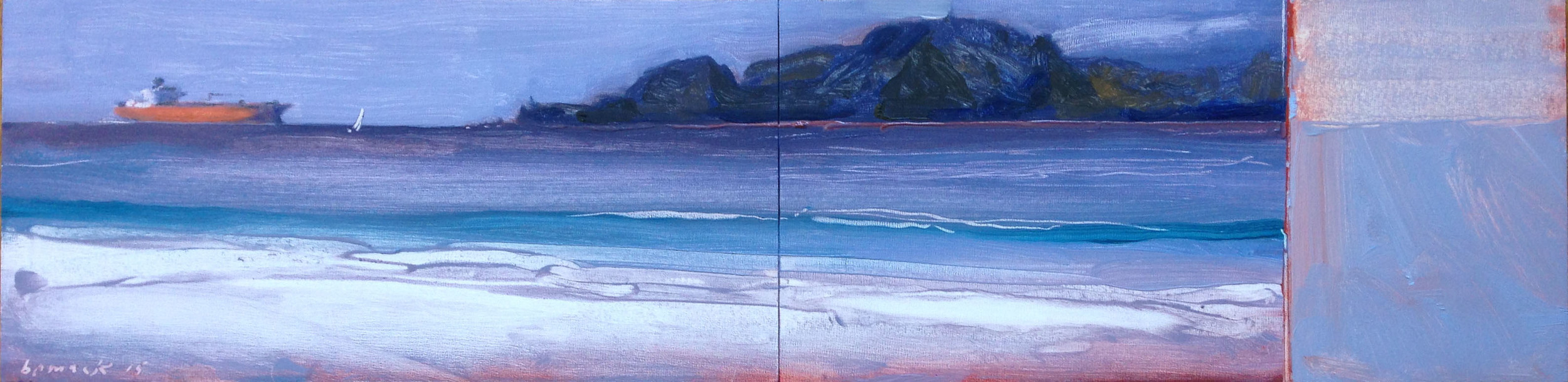"""red sky    oil on board (two panels)    6""""x24"""""""