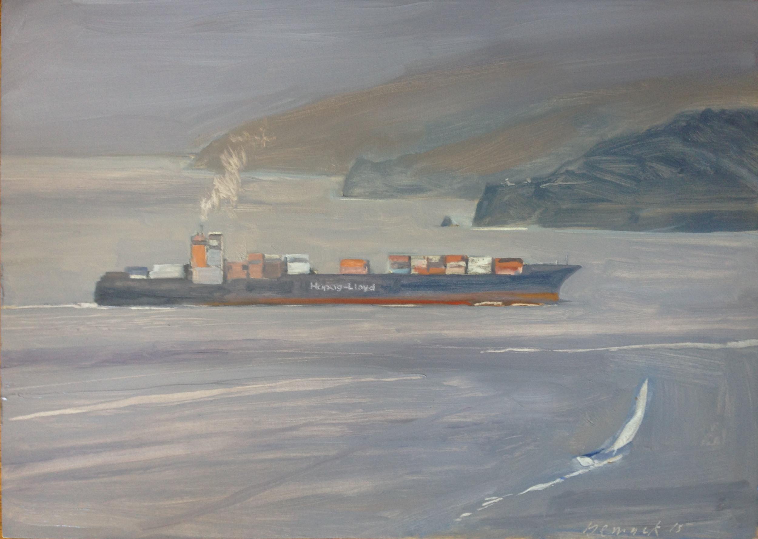 "hapag-lloyd (sold)    oil on board    20""x28"""