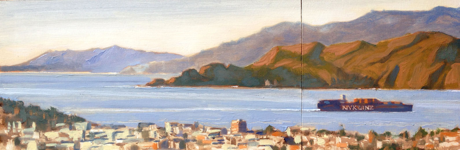 """room with a view (sold)    oil on board (two panels)    6""""x24"""""""