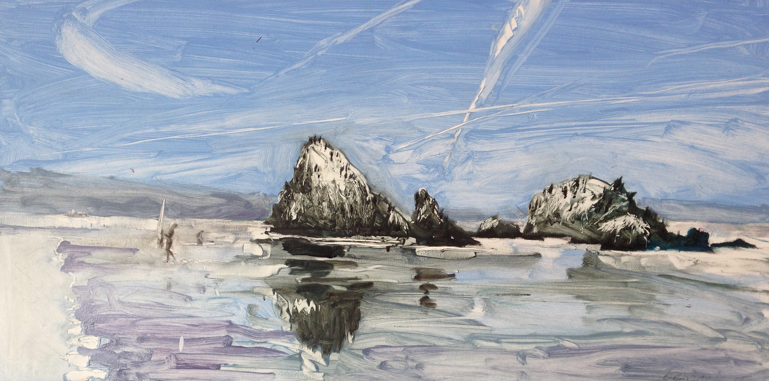 "seal rocks 1 (sold)  oil and conte crayon on board  18""x36"""