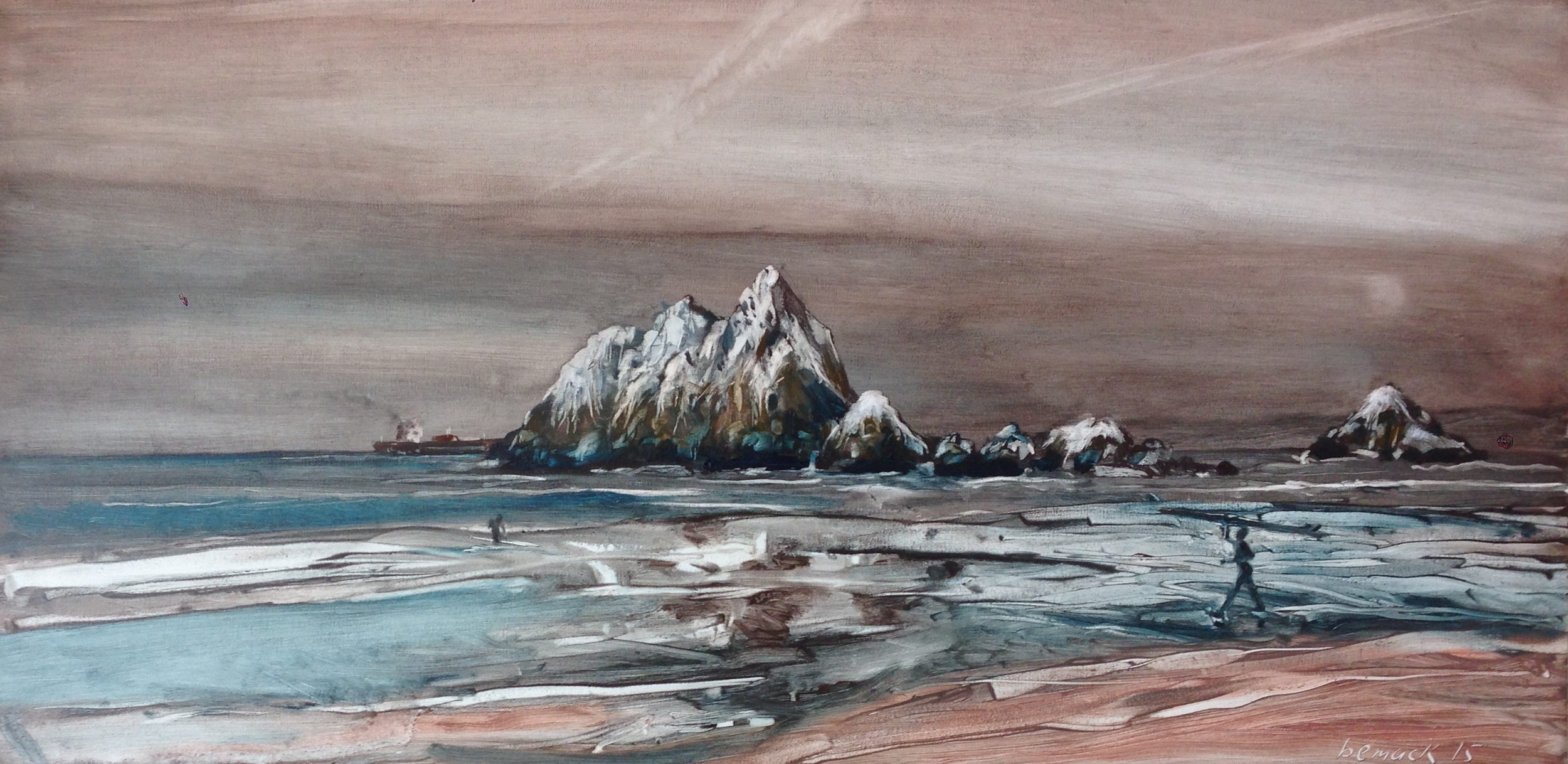 "seal rocks 2 (sold)  oil on board  18""x36"""