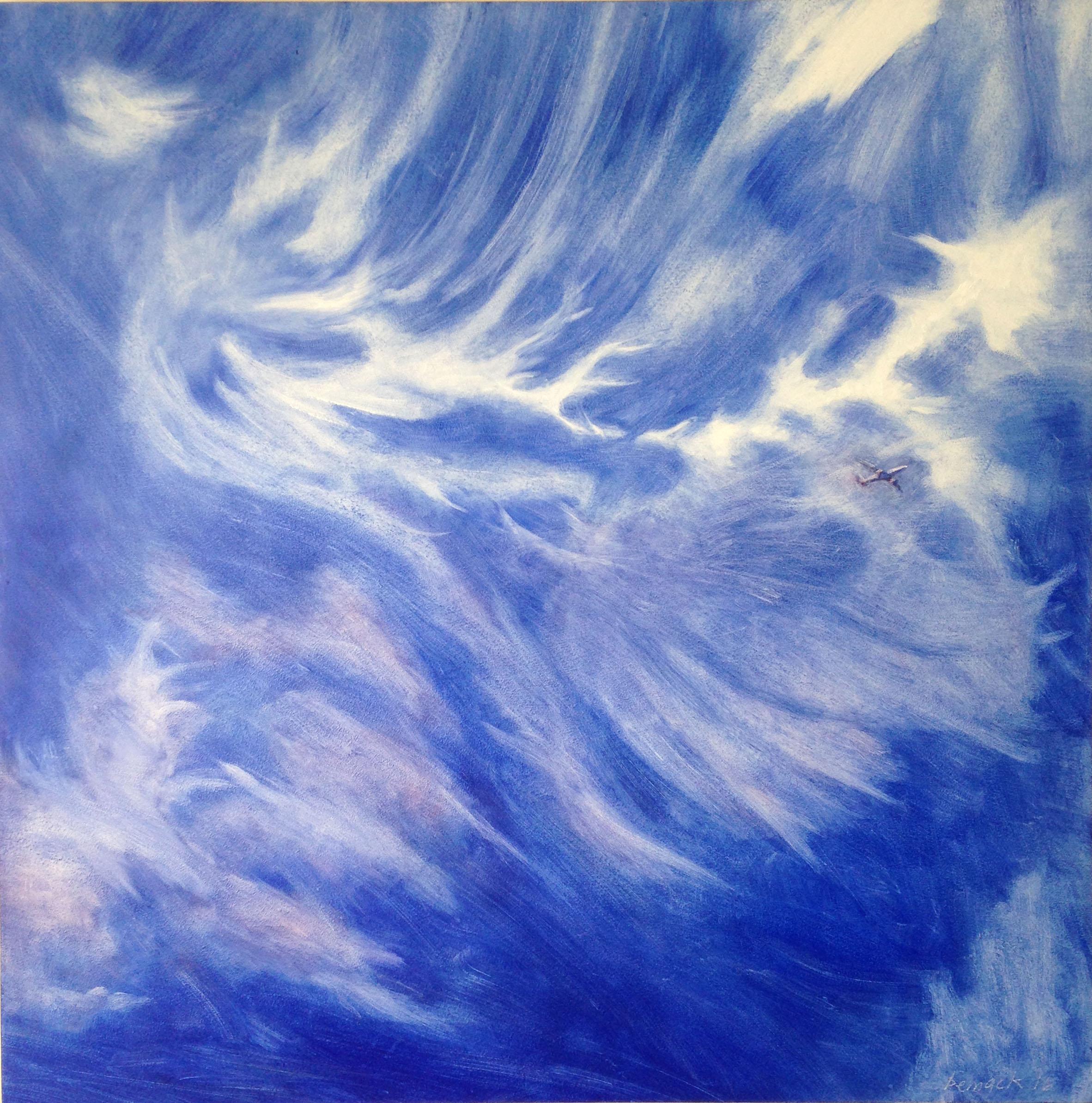 """blu sky    oil on board    32""""x32"""""""