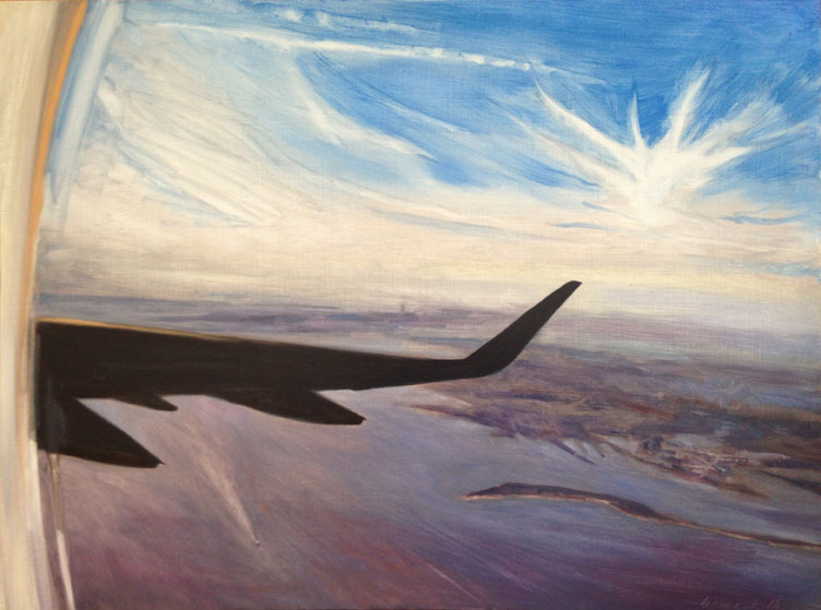 """somewhere over america    oil on board    32""""x24"""""""