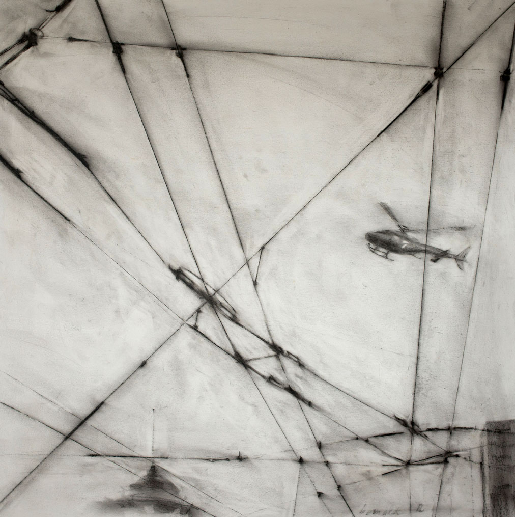 """chopper 7 (sold)   conte crayon on panel  32""""x32"""""""