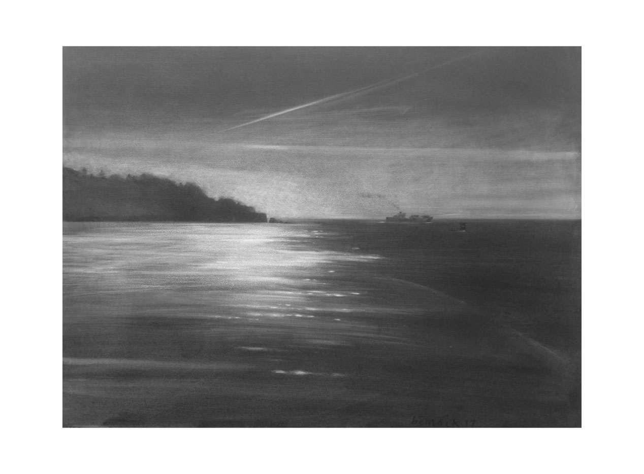 "land's end   conte crayon on panel  18""x 24"""