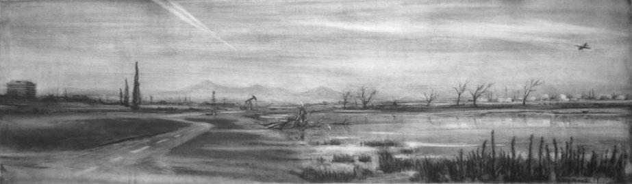 """Bakersfield Diorama   conte crayon on paper  14""""x49"""""""