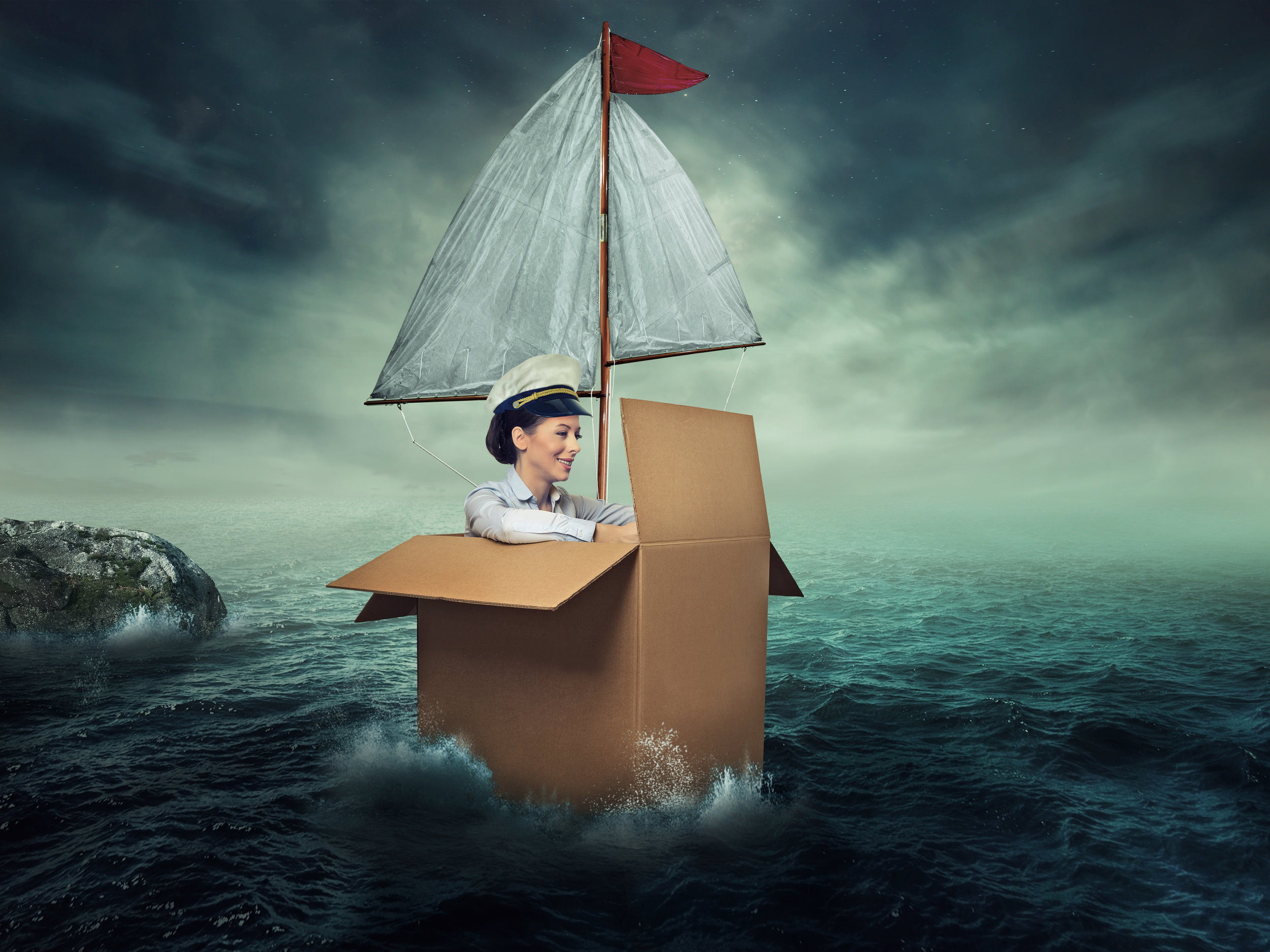 """The title is """"woman traveling by water,"""" which is an interesting way of putting it. Via iStock."""