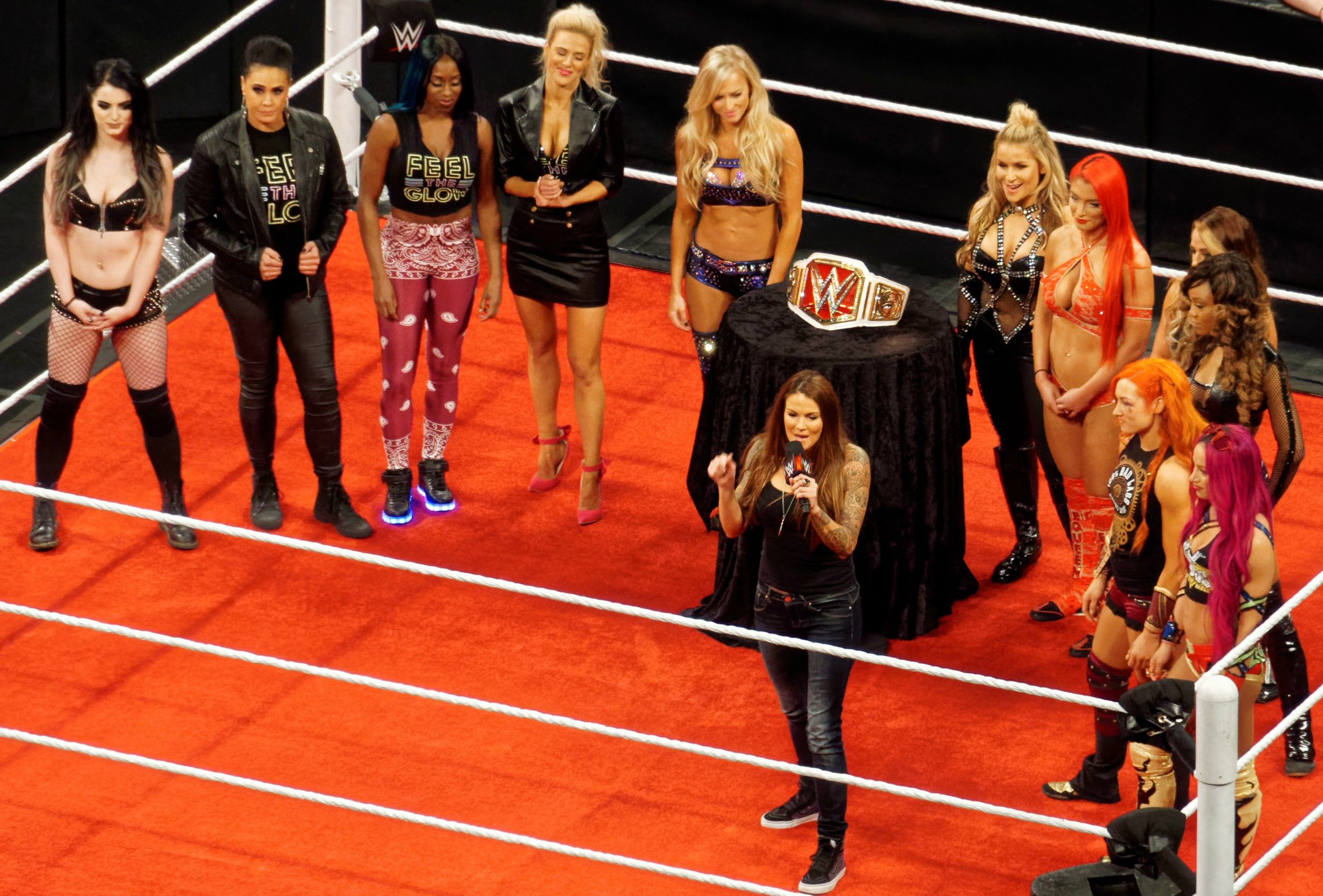 The first WWE RAW women's championship, April 2016. Photo by Miguel Discart via Wikimedia Commons.