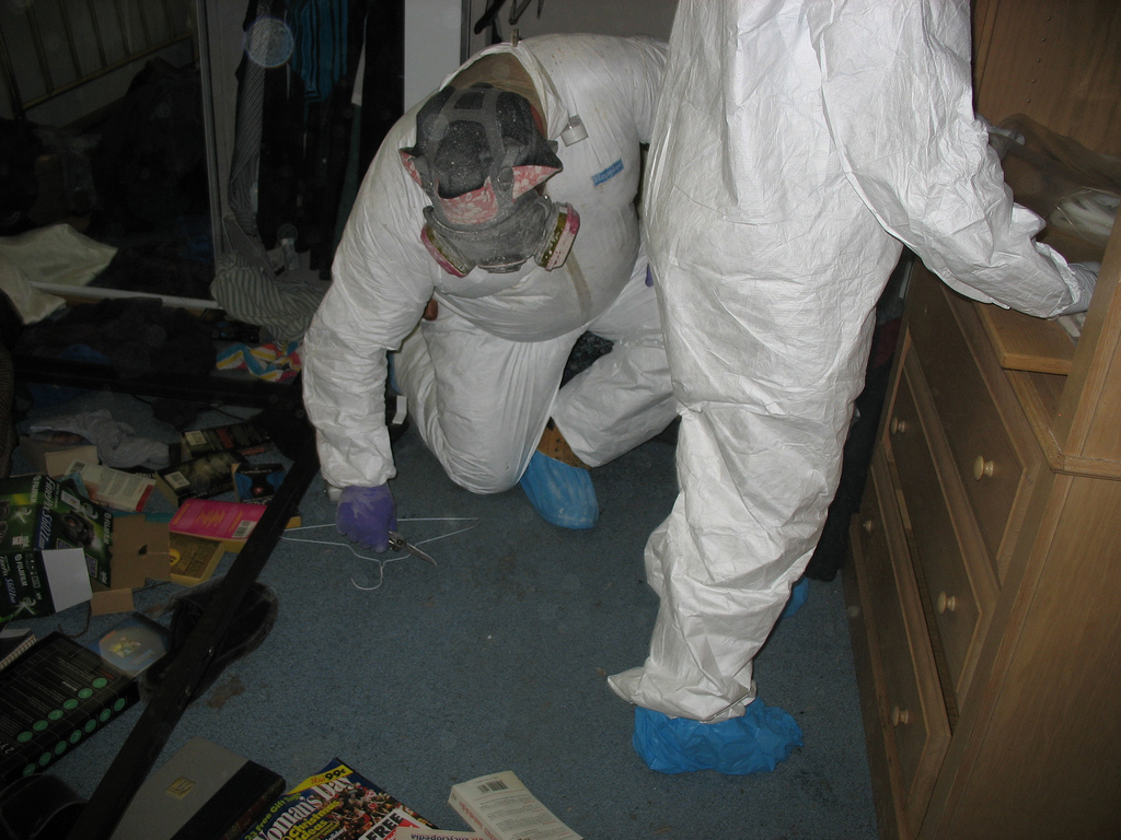 Workers sample meth residue levels in a former Ohio lab. Image by  National Institute for Occupational Safety and Health (NIOSH) via Wikimedia Commons