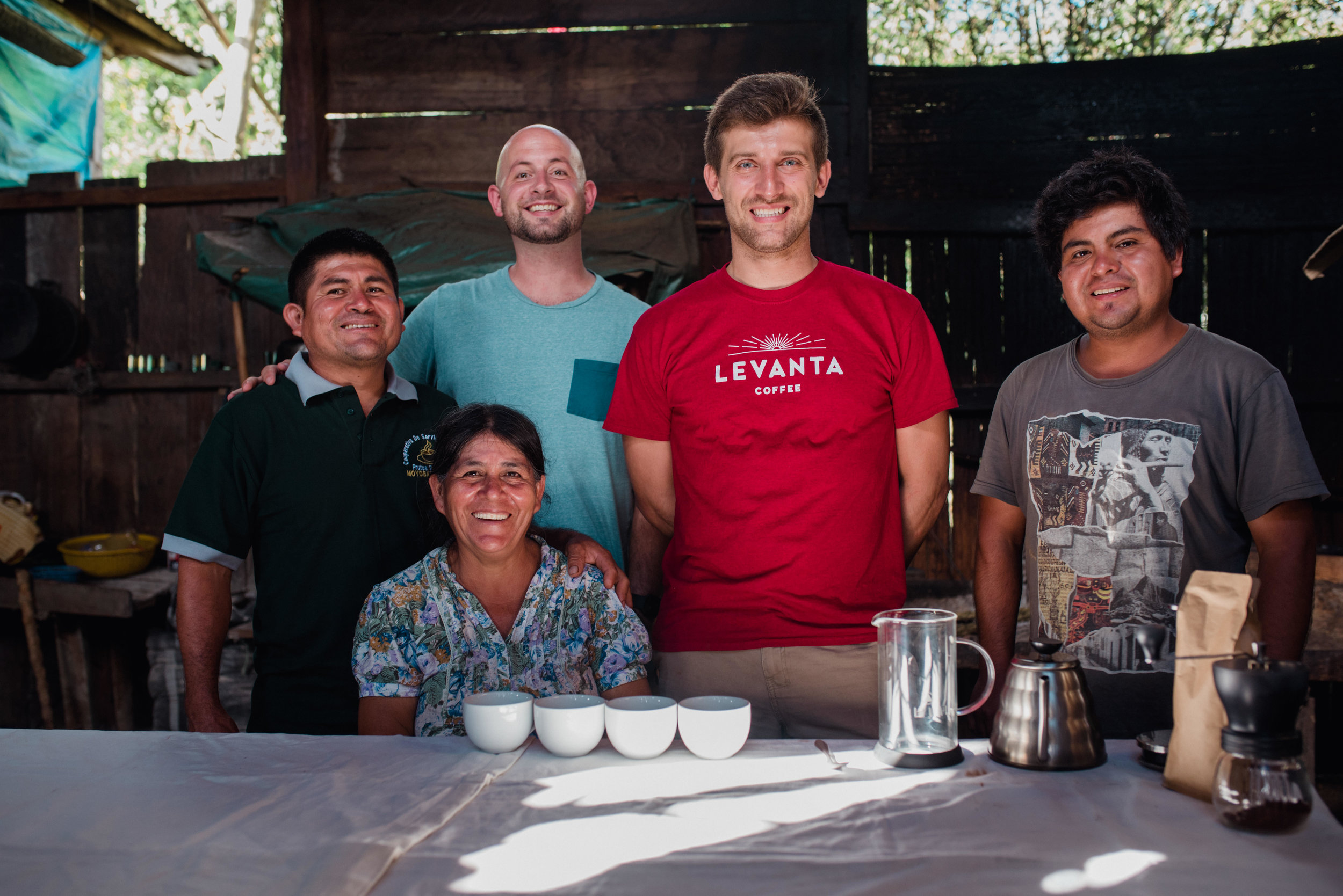 The Farmers First Coffee founders with the Diaz family, who grow coffee for the company. Image courtesy of Farmers First Coffee
