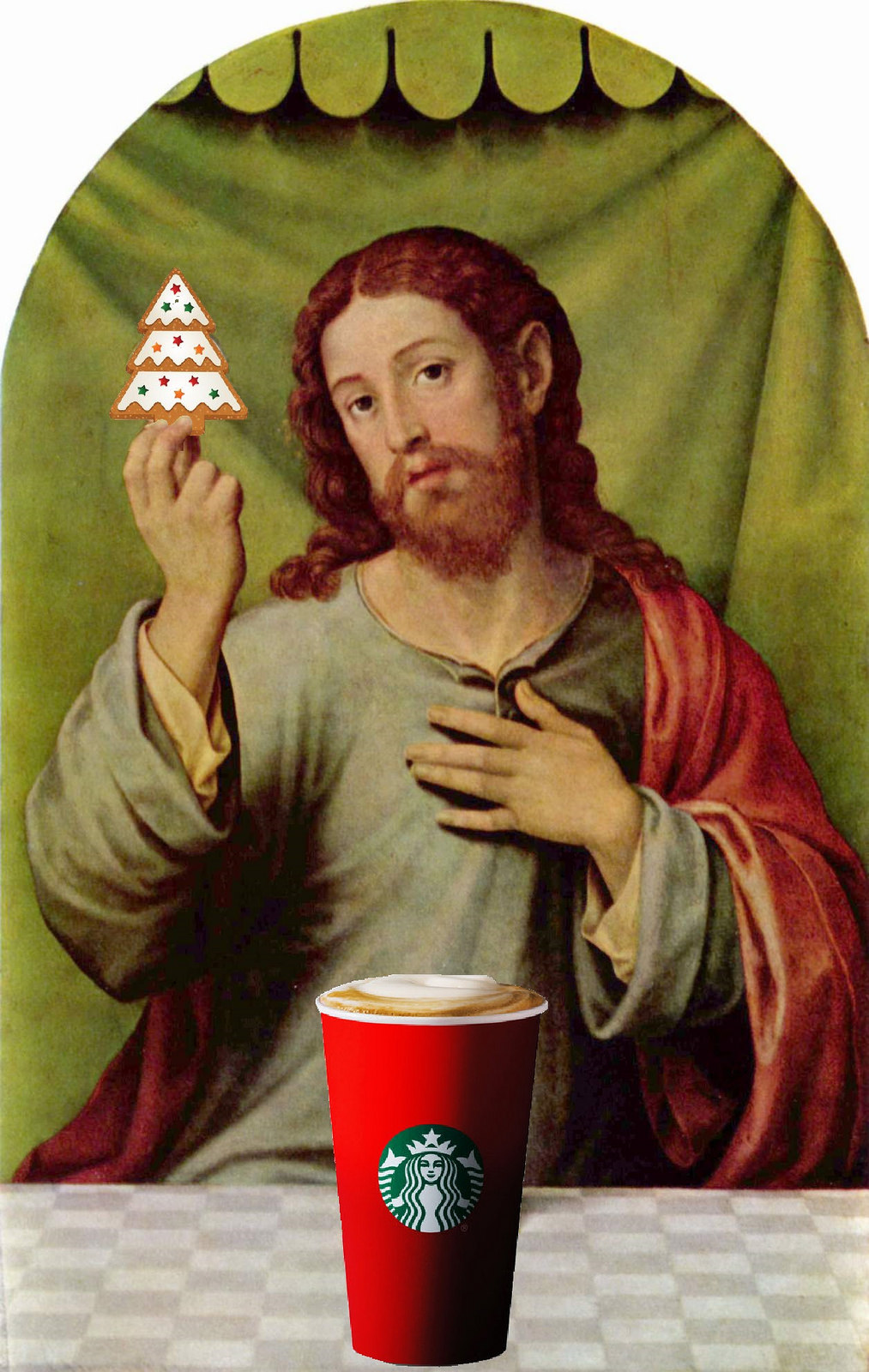 Christ patiently puts up with Starbucks' plain red cup design. Image by  Mike Licht via Flickr