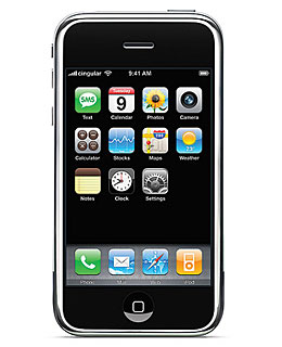 The original iPhone with factory apps. Via Wikimedia commons.