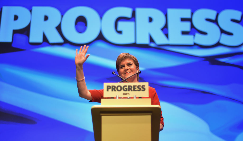 Scotland First Minister Nicola Sturgeon at the Scottish National Party's autumn conference. She's an enthusiastic supporter of universal basic income feasibility studies. Photo by Mark Runnacles/Getty Images News / Getty Images