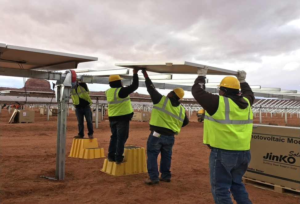 The Kayenta solar facility provided 284 jobs at the height of construction. Photo courtesy of the Navajo Tribal Utility Authority