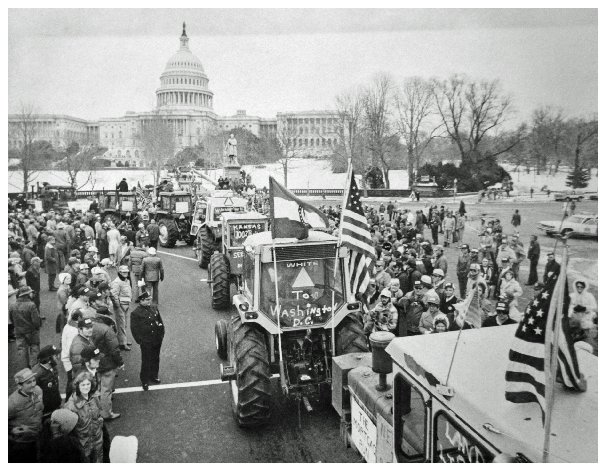 Farmers' tractorcade protest on Washington, D.C., in 1978. Photo via D.C. Public Library Washington Star Collection