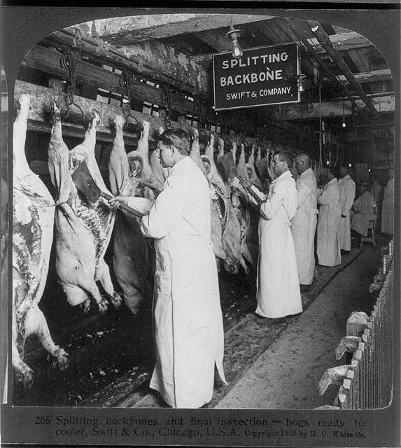 Meat inspection prior to the FDA. Image via Wikipedia/Library of Congress
