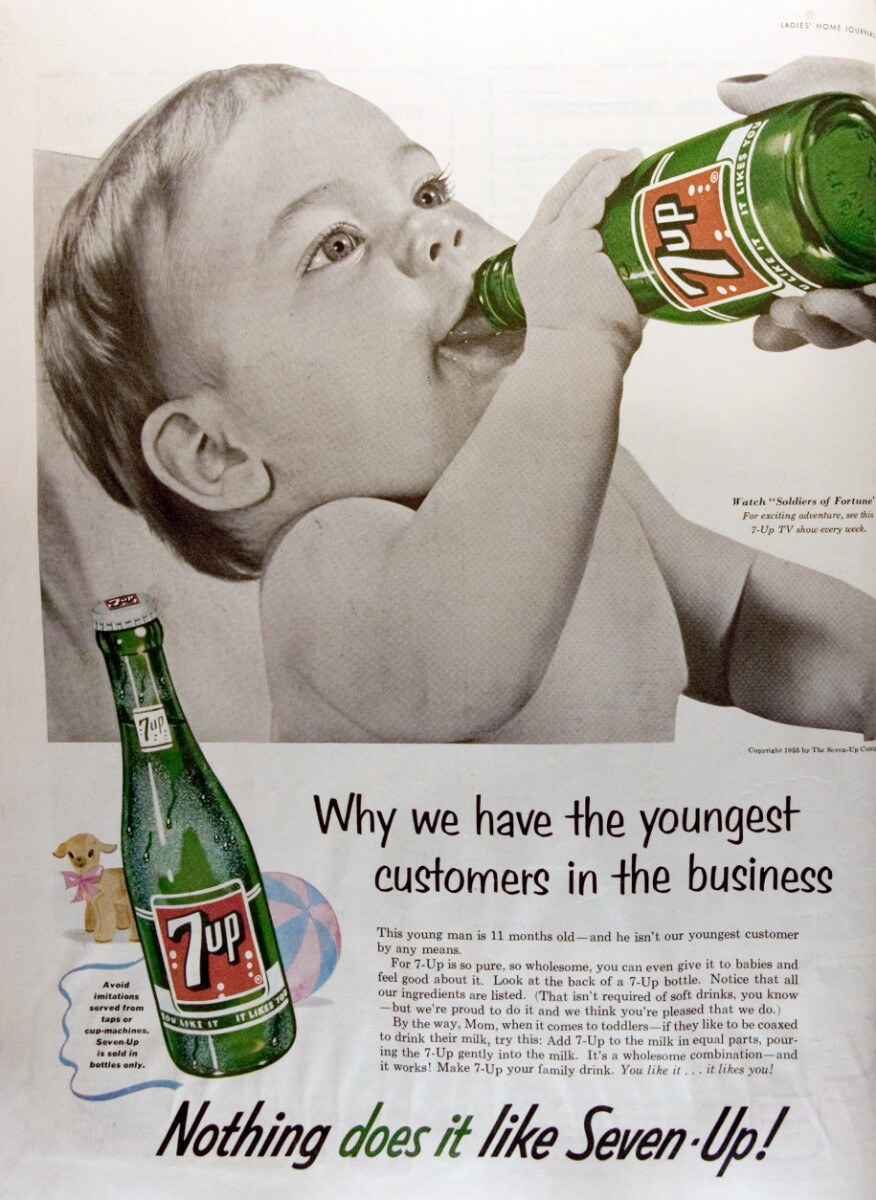 This 7-Up ad from 1955 advises women to mix milk with the soft drink. Image via Duke University Digital Repository.