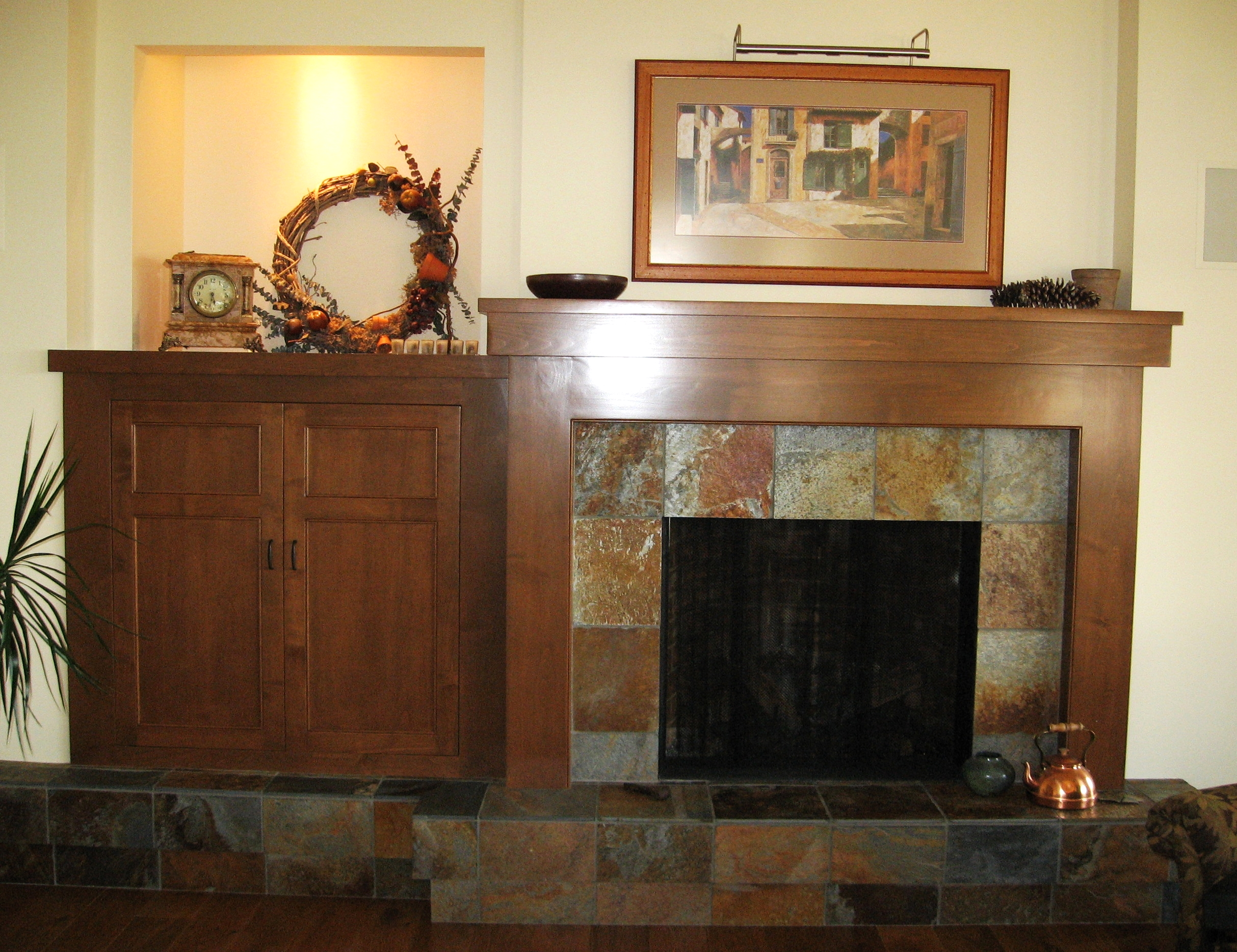 custom-built-arts-and-crafts-style-fireplace-mantle-and-cabinet.JPG