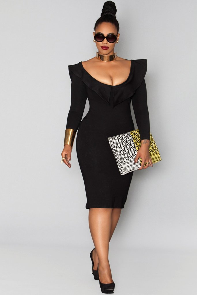 Whoever said all black is boring, never saw this dress. With it's plunging scoop neckline and body hugging shape, you are sure to turn every head when you sashay in the room, honey. #knockout
