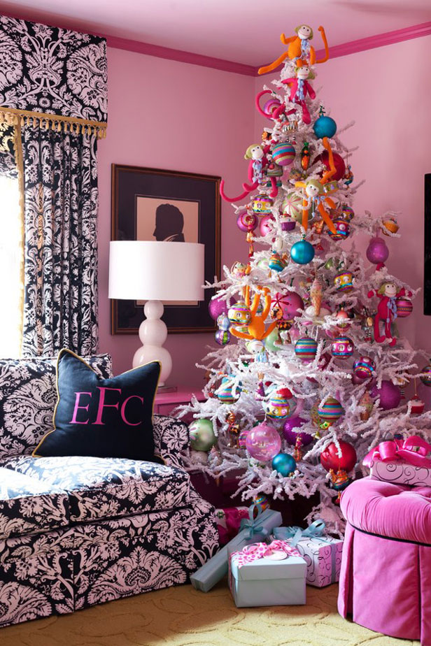 Elaborate and funky, this out of the box, monkey filled tree is for the playful kid-at-heart fashionista. Texture and larger than life ornaments are key to pulling off this whimsical look.