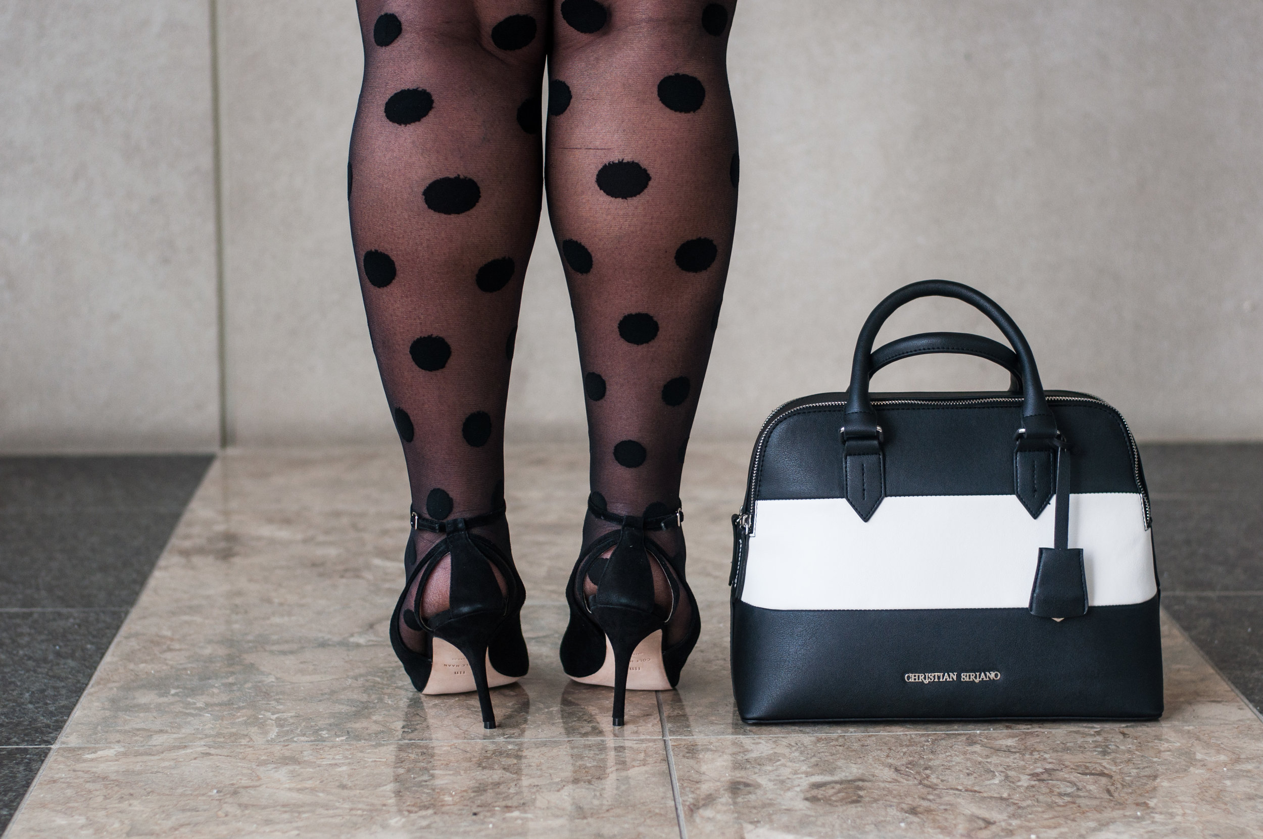 Know how to go high and low: I paired this $40 handbag with $300 Cole Haan heels, and $7 Lane Bryant tights :) #upgradeyou