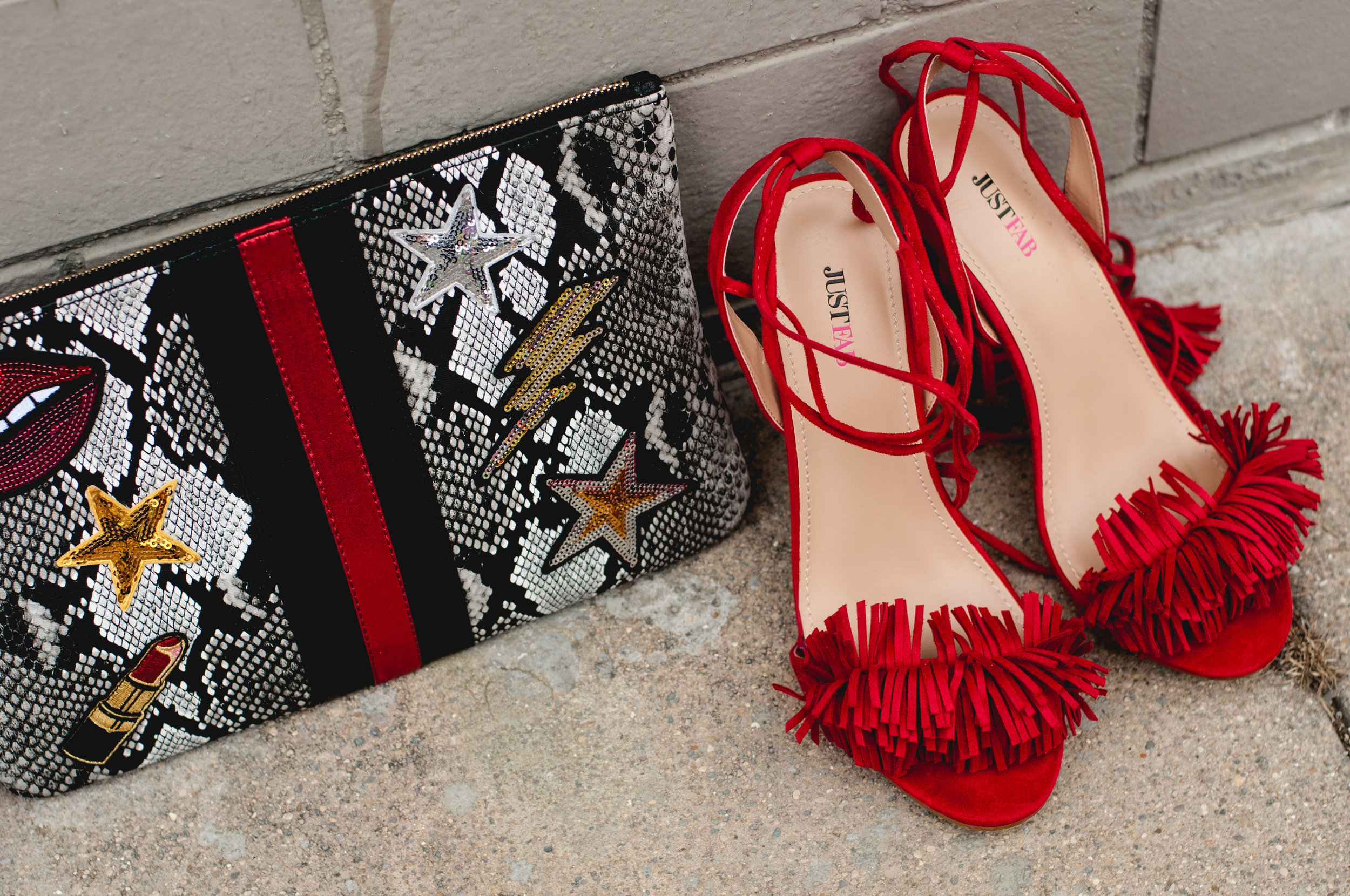 $15 clutch from DSW, $20 shoes from JustFab> My Style- Priceless.