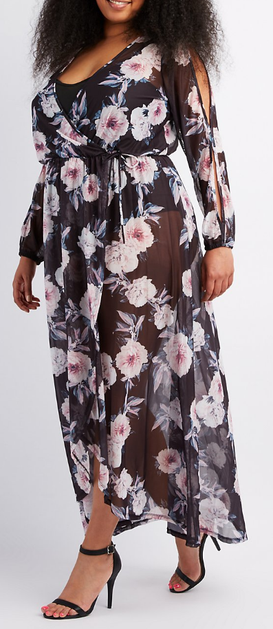 Floral Mesh Maxi, Charlotte Russe, $39