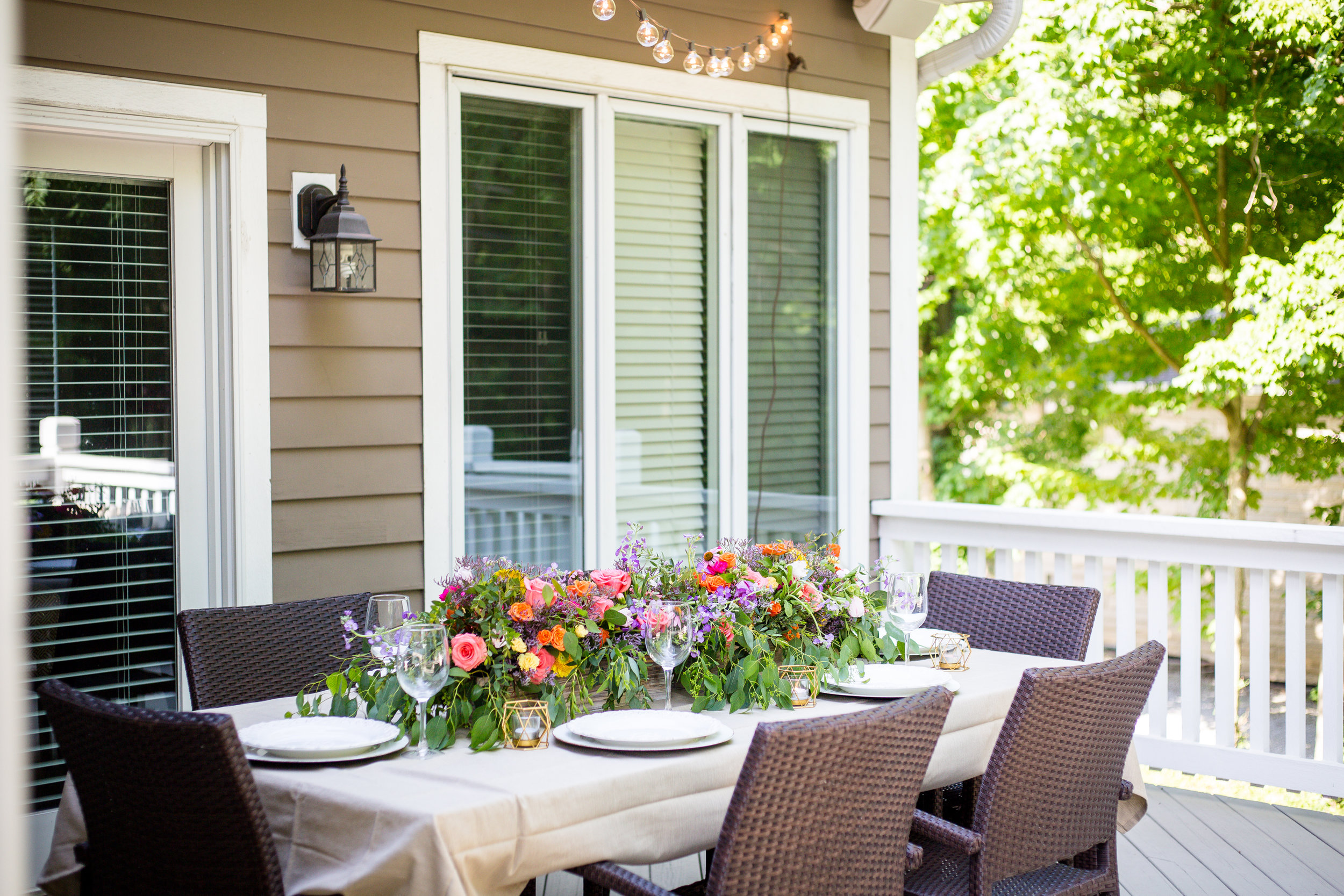 Summer floral table centerpiece