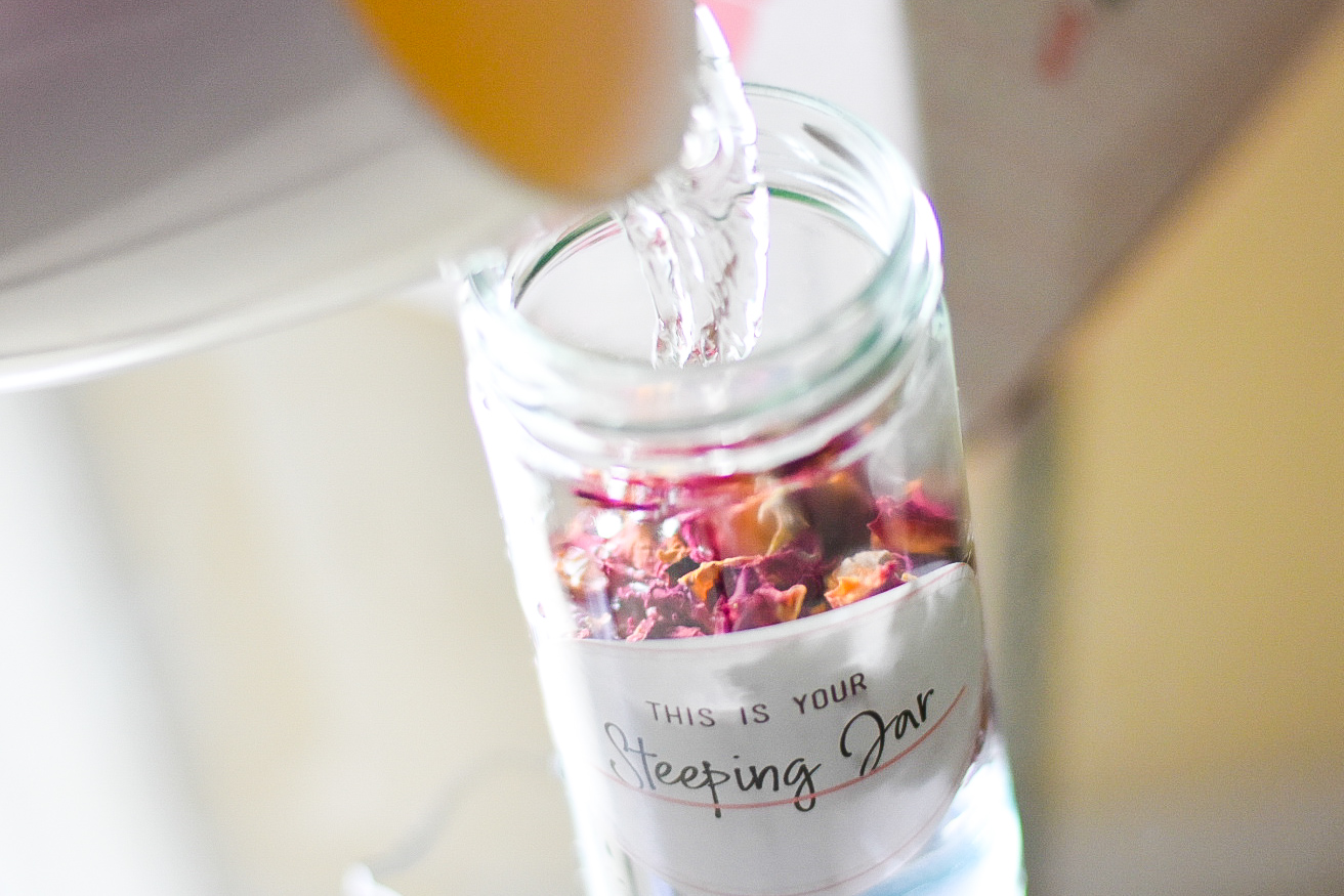 Rose petals in Steeping Jar