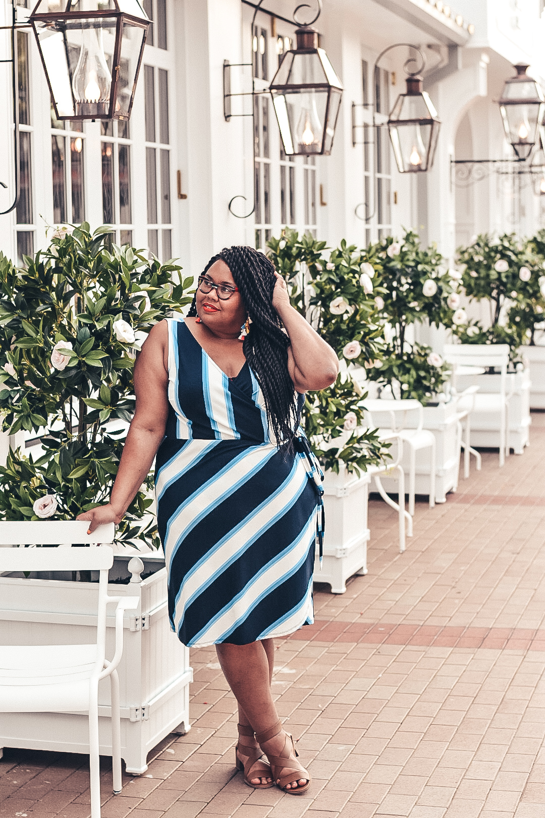 Blue Striped Plus Size Dress